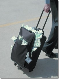 luggage stuffed with money